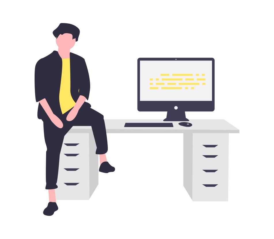 男の人とパソコン